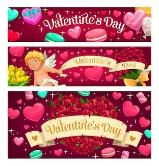 Valentin Coeurs Et Fleurs Roses Vecteur Premium