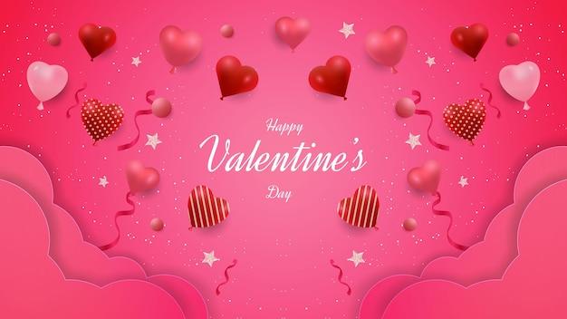 Valentin; conception de fond de la journée avec des formes de nuage et d'amour