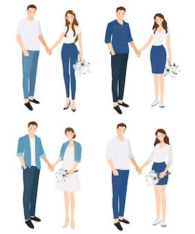 Valentin couple en costume de jeans occasionnels, tenant la collection de mains