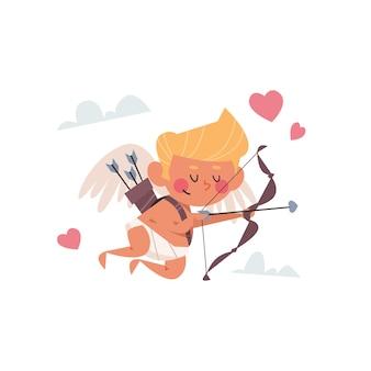 Valentin cupidon amour bébé ange tir flèches d'amour avec coeur saint valentin célébration concept carte de voeux bannière invitation affiche illustration
