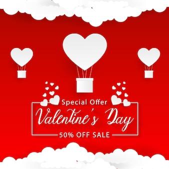 Valentin fond rouge et blanc, style art papier, coeur dans la bulle de dialogue avec des nuages