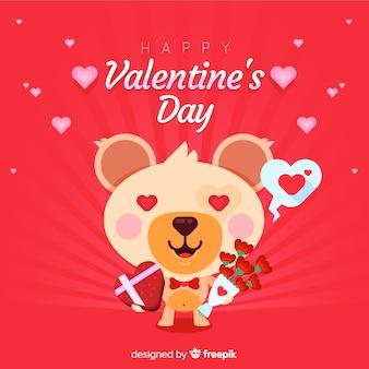 Valentin ours en amour fond