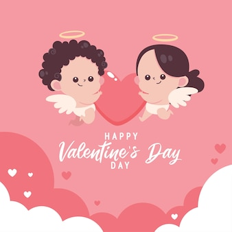Valentin plat avec illustration mignonne