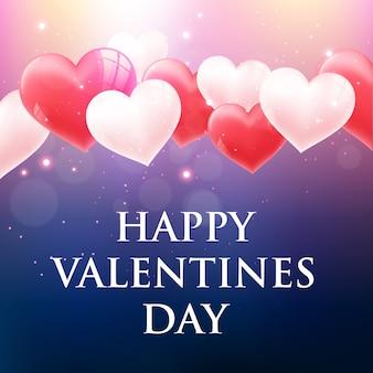 Valentin`s day card avec des coeurs