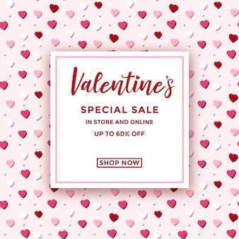 Valentin vente annonce avec motif coeur pastel