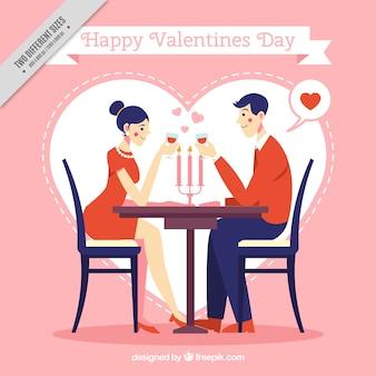 Valentine background avec un couple sur une date