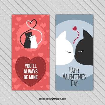 Valentine cartes avec des chats