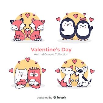 Valentine couple ensemble d'animaux