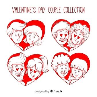 Valentine couple à l'intérieur du pack de coeurs