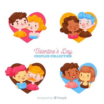 Valentine couples dans la collection de coeurs