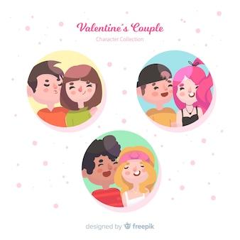Valentine couples à l'intérieur des cercles pack