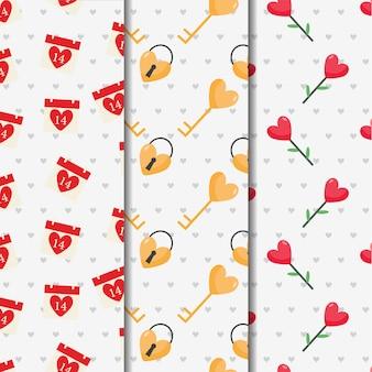 Valentine cute seamless pattern set