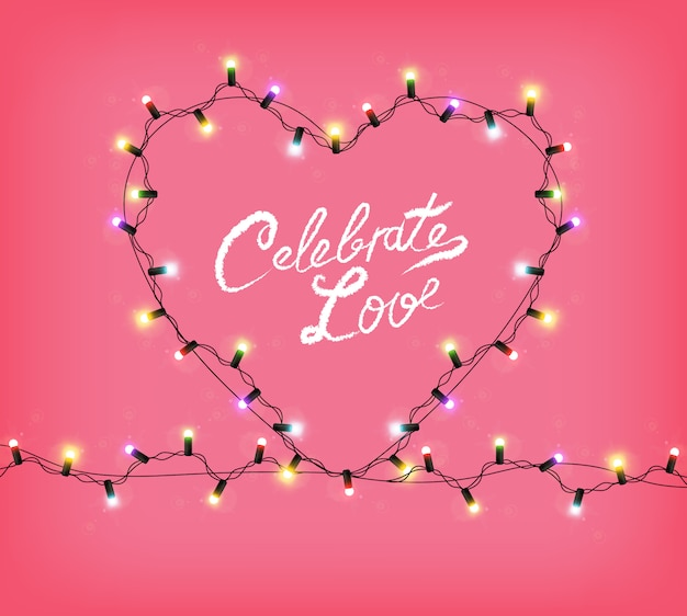 Valentine day heart avec des lumières rougeoyantes