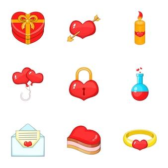 Valentine day icons set, style de bande dessinée