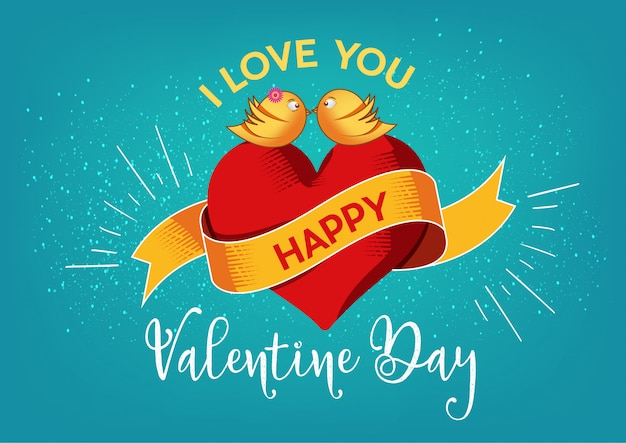 Valentine design avec des oiseaux aimants