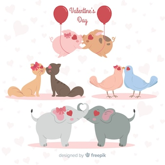 Valentine embrassant la collection de couple d'animaux
