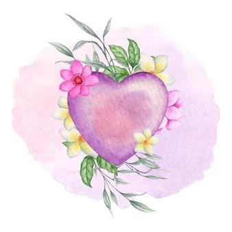 Valentine en forme de coeur violet avec des fleurs et des feuilles