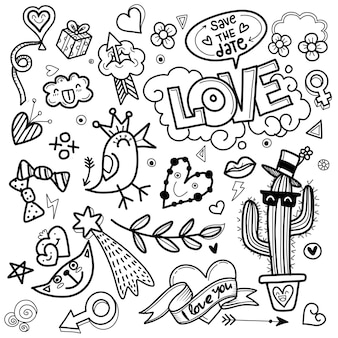 Valentine, Griffonnages D'amour Dessinés à La Main Mignon Vecteur Premium