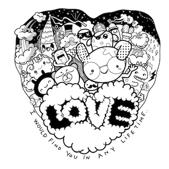 Valentine, griffonnages d'amour dessinés à la main mignons, personnages de dessins animés s'amusant dans le cadre du coeur avec le mot amour