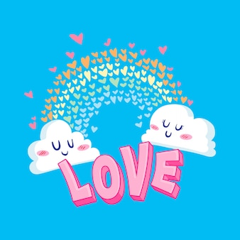 Valentine love cloud illustration