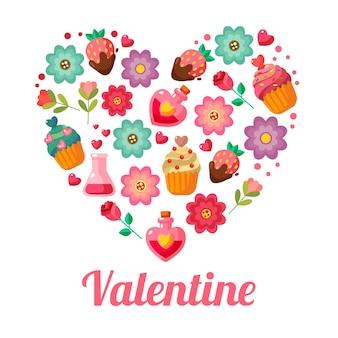 Valentine love forme des éléments de style plats