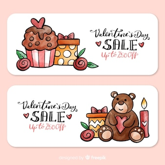 Valentine présente la bannière de vente