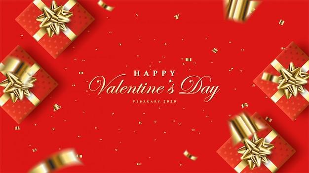 Valentine avec quatre illustrations de coffrets cadeaux rouges et rubans de couleur or.