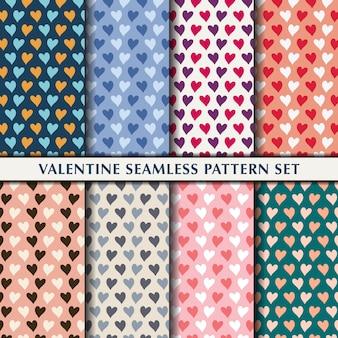 Valentine seamless pattern heart set