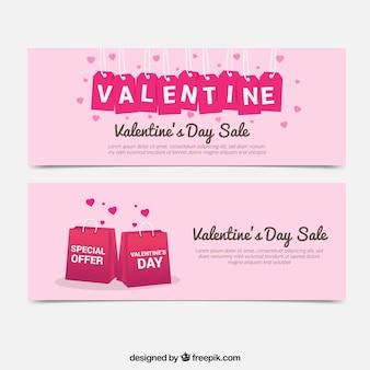 Valentine vente des bannières avec des sacs