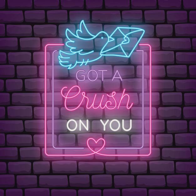 Valentine voeux en illustration de style effet néon