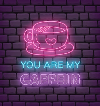 Valentine voeux en illustration vectorielle de néon effet style