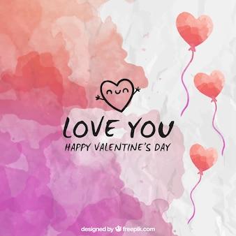 Valentines aquarelle de fond de jour