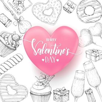 Valentines_background_3d heart_donut