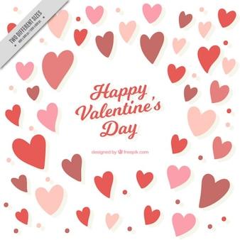 Valentines background avec des coeurs et des cercles