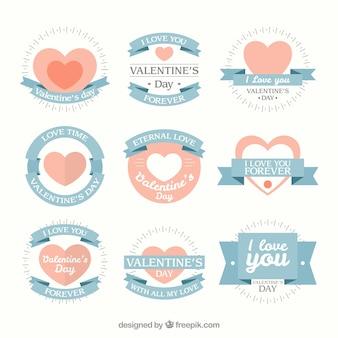 Valentines beaux badges de jour dans des couleurs douces