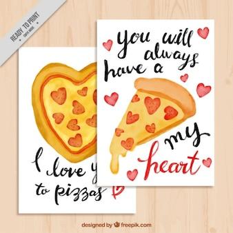 Valentines cartes avec des messages et des pizzas à l'aquarelle