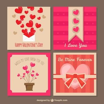 Valentines cartes de vœux joli jour