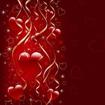 Valentines day background décoratifs avec des coeurs et des rubans