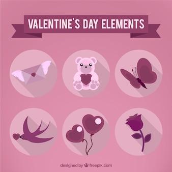 Valentines roses éléments de jour