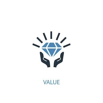 Valeur concept 2 icône de couleur. illustration de l'élément bleu simple. conception de symbole de concept de valeur. peut être utilisé pour l'interface utilisateur/ux web et mobile