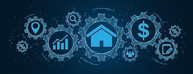 Valeur de la propriété du concept immobilier avec des icônes de contrat de localisation et de diagramme de prix cogs