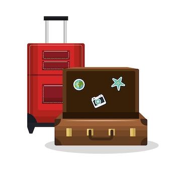 Valise ancienne et valise rouge avec roues design isolé