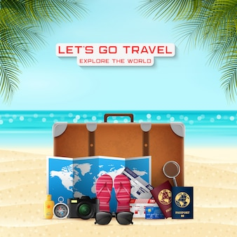 Valise avec accessoires de bagages de vacances