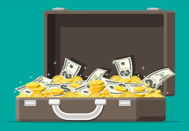 Valise en cuir ouverte pleine d'argent. des piles de billets en dollars et de pièces d'or au cas où. symbole de richesse. la réussite des entreprises. illustration vectorielle de style plat.