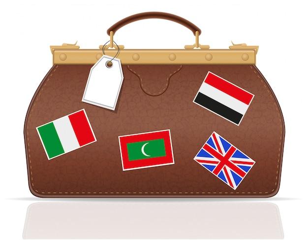 La valise en cuir voyage avec la constipation.