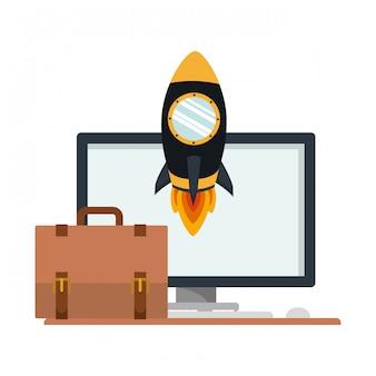Valise avec fusée spatiale et ordinateur de bureau