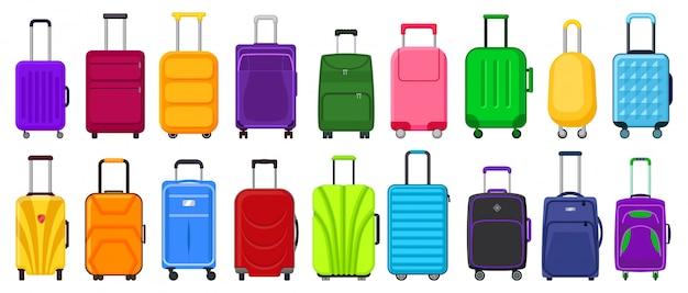 Valise, isolé, dessin animé, ensemble, icône. dessin animé mis icône bagages pour voyage.