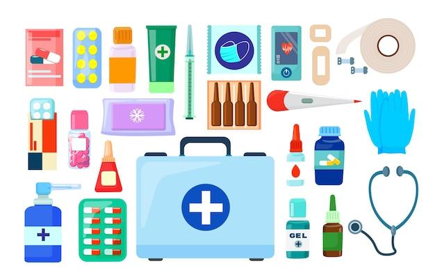 Une valise médicale et un ensemble de médicaments, d'accessoires pharmaceutiques et de pharmacie. vecteur