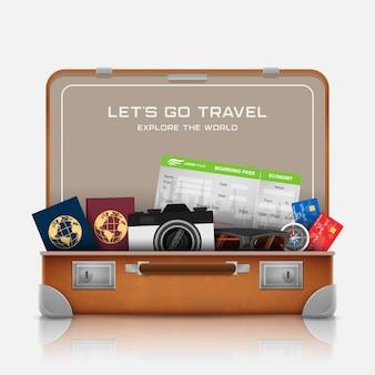 Valise ouverte avec accessoires de bagages de vacances