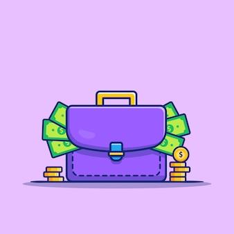 Valise pleine d'argent et de pièces d'or cartoon icon illustration. finance et affaires icône concept isolé premium. style de bande dessinée plat